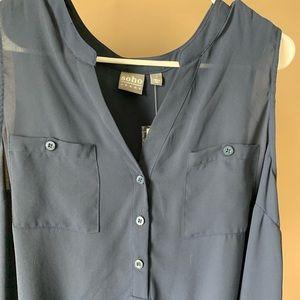 Navy dress Tank top w/ tapered waist